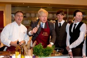 Boris Johnson at Brasserie Blanc launching the London apprencticeship scheme
